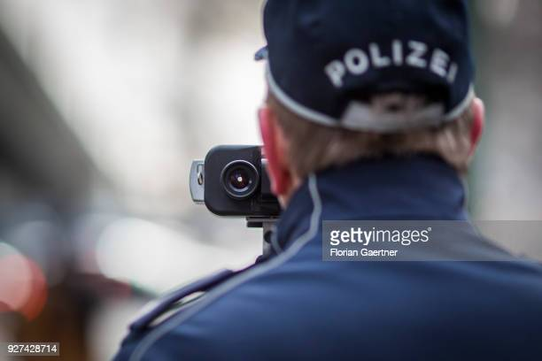 A police officer operates a speedometer during a traffic control in Berlin on February 27 2018 in Berlin Germany