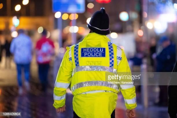 POlice officer patrols on December 22 2018 in Cardiff United Kingdom