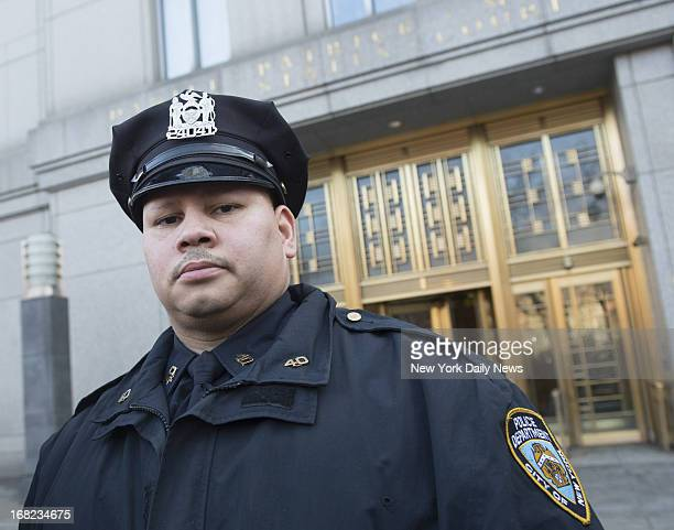 Police Officer Pedro Serrano outside Federal Court in Manhattan after day's proceedings on the New York City Police Department's controversial...