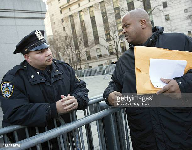 Police Officer Pedro Serrano with whistleblower Adhyl Polanco outside Federal Court in Manhattan after day's proceedings on the New York City Police...