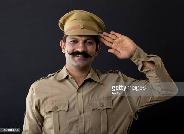 Police officer saluting