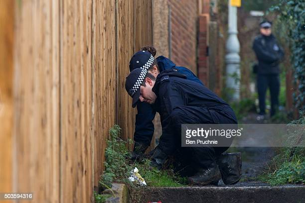 A police officer searches the area around the home of former Eastenders actress Sian Blake on January 6 2016 in London England The former Eastenders...