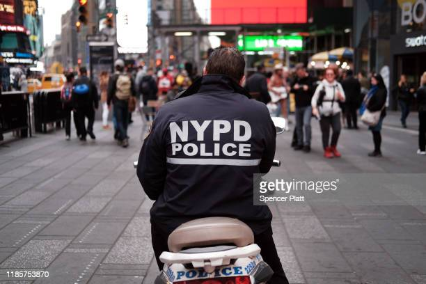 A police officer sits on a scooter in Times Square on November 05 2019 in New York City Following a turbulent threeyear run as Police Commissioner...