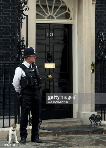A police officer stands alongside 'Larry' the Downing Street cat outside Number 10 Downing Street in London June 21 2012 before the arrival for a...
