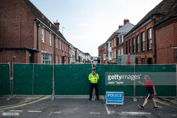 A police officer stands at a cordon around around a supported housing project in Salisbury after a major incident was declared when a man and woman...