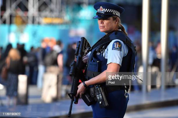 Police officer stands guard during Prince William, Duke of Cambridge's visit with the first responders to the scene after an Australian white...