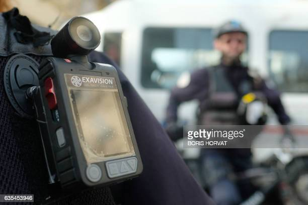 A police officer stands guard with a body camera attached to the shoulder on February 15 2017 in Marseille Currently in Marseille only the Mountain...