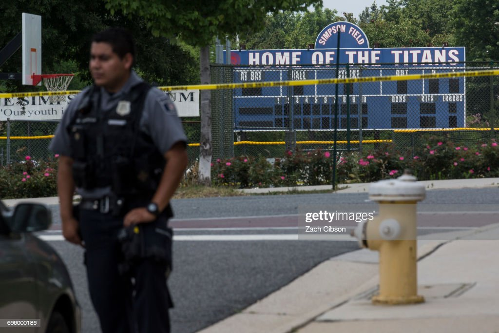 Multiple Injuries Reported From Shooting At Field Used For Congressional Baseball Practice : News Photo