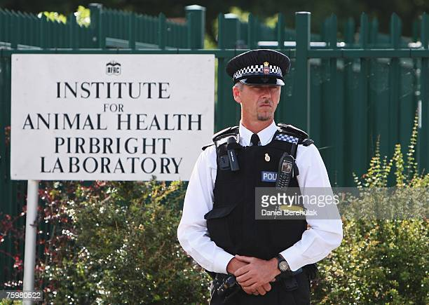A police officer stands near the sign outside the Institute for Animal Health Pirbright Laboratory on August 6 2007 in Pirbright England The outbreak...