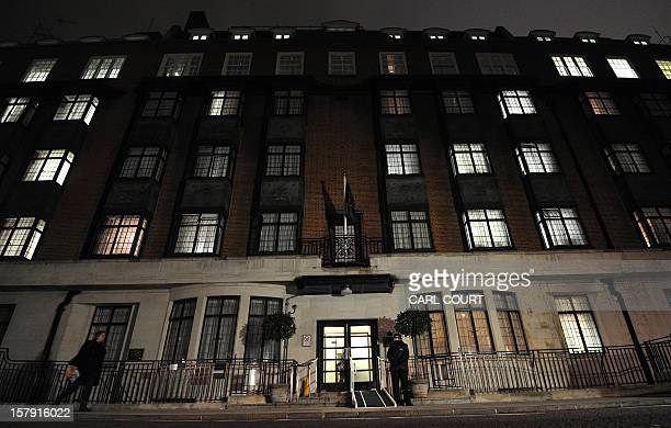 A police officer stands outside the King Edward VII hospital in central London on December 7 2012 after nurse Jacintha Saldanha was found dead at a...