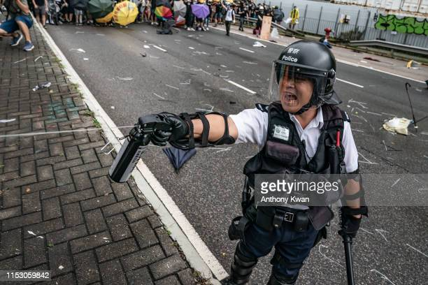 A police officer uses pepper spray during a clash with antiextradition protesters outside the Legislative Council Complex ahead of the annual flag...