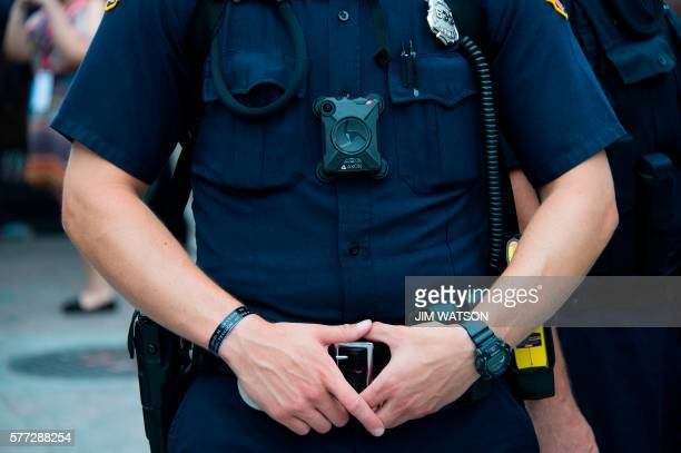 A police officer wears a body camera on during an antiDonald Trump protest in Cleveland Ohio near the Republican National Convention site July 18...