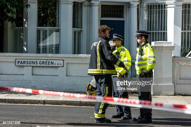 Police officers and firefighter at Parsons Green Several people have been injured after an explosion on a tube train in southwest London The Police...