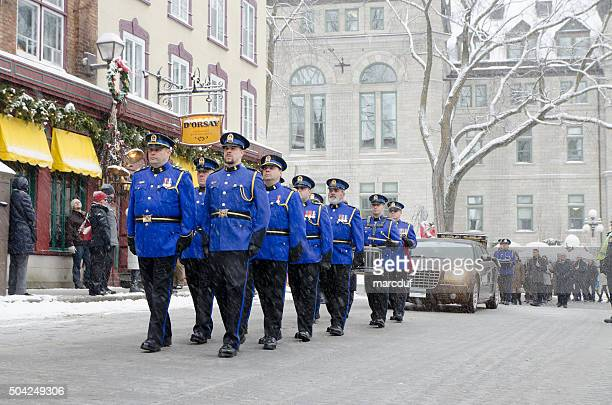 police officers and group of people into a funeral procession - old quebec stock pictures, royalty-free photos & images