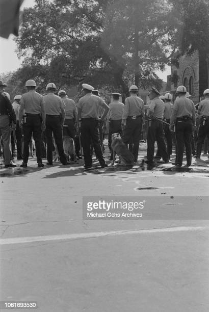 Police officers are called to the 16th Street Baptist Church headquarters of the Birmingham Campaign in Birmingham Alabama May 1963 The movement...
