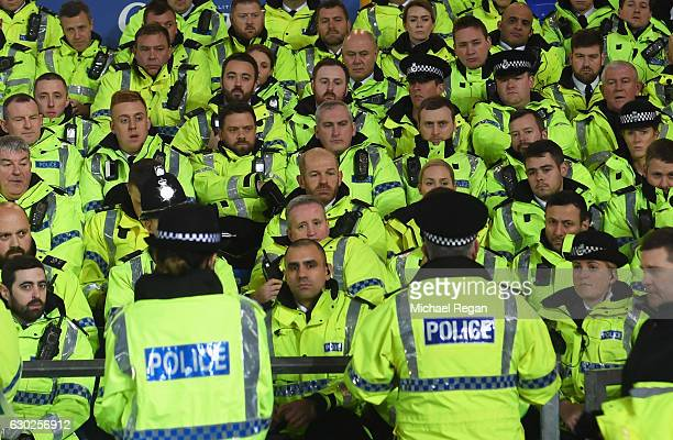 Police officers are given instructions prior to the Premier League match between Everton and Liverpool at Goodison Park on December 19 2016 in...