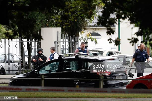 Police officers are seen at the Masjid al Noor mosque after a shooting incident in Christchurch on March 15 2019 Attacks on two Christchurch mosques...