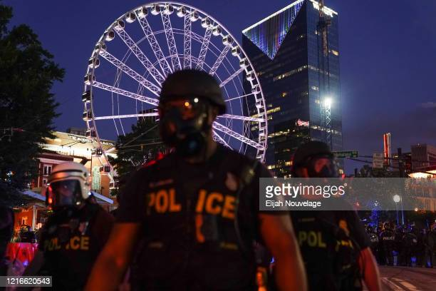 Police officers are seen during a demonstration on May 31 2020 in Atlanta Georgia Across the country protests have erupted following the recent death...