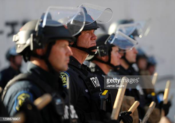 Police officers are seen in riot gear during a protest on May 31, 2020 in Kansas City, Missouri. Protests erupted around the country in response to...
