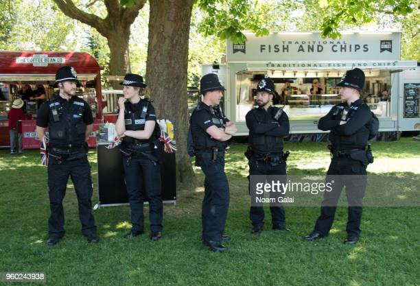 Police officers are seen outside the wedding of Prince Harry to Ms Meghan Markle at Windsor Castle on May 19 2018 in Windsor England Prince Henry...