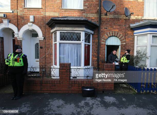 Police officers at a house in Raglan Street Hull after officers searching for 21yearold student Libby Squire who went missing from her home in the...