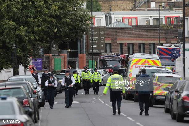 Police officers at the scene of this morning's tube explosion at Parsons Green Underground Station on September 15 2017 in London England Several...