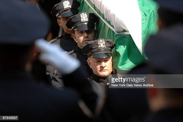 Police officers bear the coffin of rookie NYPD Officer Marlene Rivera from Metropolitan International Church in Bushwick Brooklyn during funeral...