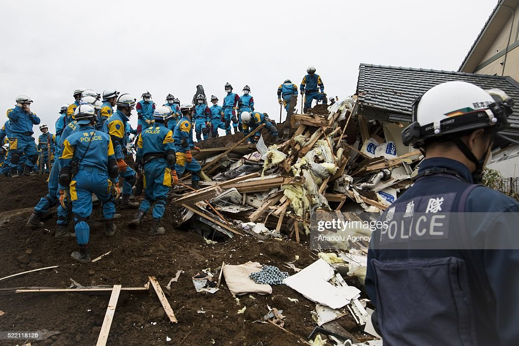 Police officers continue rescue operation in Minamiaso, Kumamoto, Japan on April 18, 2016 The magnitude 7.3 earthquake hit Kyushu, just after the earthquake killed 9, at least 26 new fatalities by this earthquake, total death toll from the series of earthquake rises to 42.