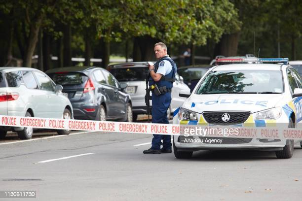 Police officers cordon off the area after gunmen attacked the two mosques and fired multiple times during Friday prayers in Christchurch, New Zealand...