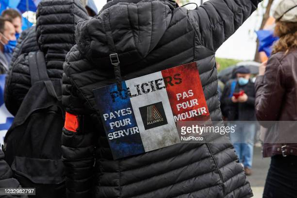 Police officers demonstrate in Paris, France on May 19, 2021 to push for better protection and less tolerance towards violence against officers, two...