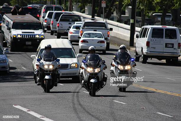 police officers escorting - hearse stock pictures, royalty-free photos & images