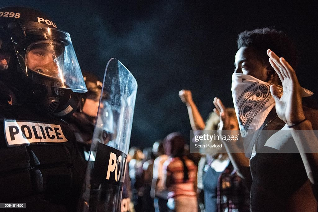 Protests Break Out In Charlotte After Police Shooting : News Photo