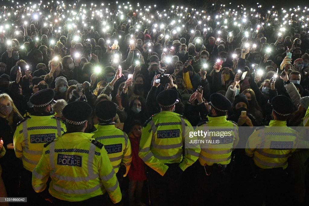 TOPSHOT-BRITAIN-POLICE-PROTEST-WOMEN-SAFETY : News Photo