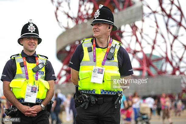 Police officers from the West Yorkshire force are seen patrolling inside the grounds of the Olympic Park during the London 2012 Olympic Games in...