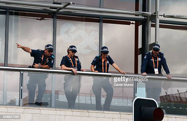 Police officers guard one of the gates of the Brisbane Convention and Exhibition Centre on November 12 2014 in Brisbane Australia World economic...