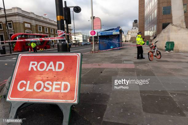 Police officers guard the scene of November 29 2019 London Bridgeterror attackin London England December 1 2019 After three days of investigation...