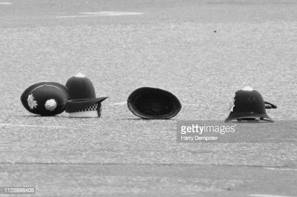 Police officers' hats including the one belonging to Yvonne Fletcher who was fatally wounded by a shot fired from the Libyan embassy on St James's...