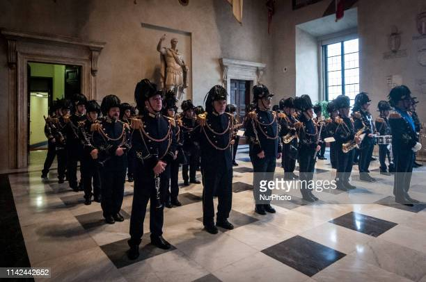 police officers in Rome's capital city during The Mayor of Rome Virginia Raggi speaks at the ceremony celebrating the 2772nd Christmas of Rome...
