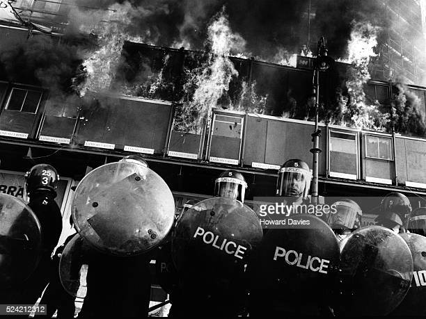 Police officers in Trafalgar square during the anti poll tax riots of April 1990 UK