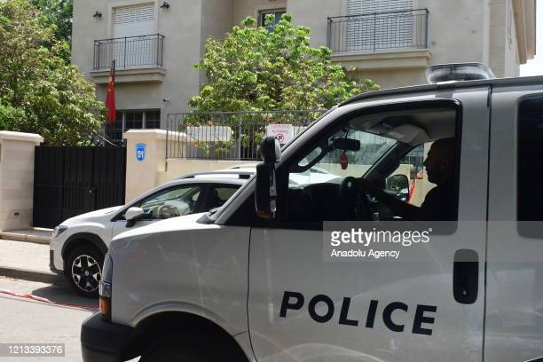 Police officers inspect the residence of China's embassy after Chinaâs ambassador to Israel Du Wei was found dead in his home in Herzliya, Israel on...