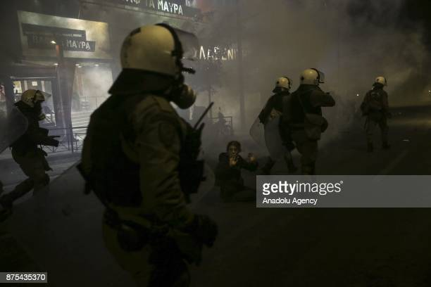 Police officers intervene to demonstrators during the 43rd anniversary of student uprising against Greek dictatorship in 1973 in Athens Greece on...