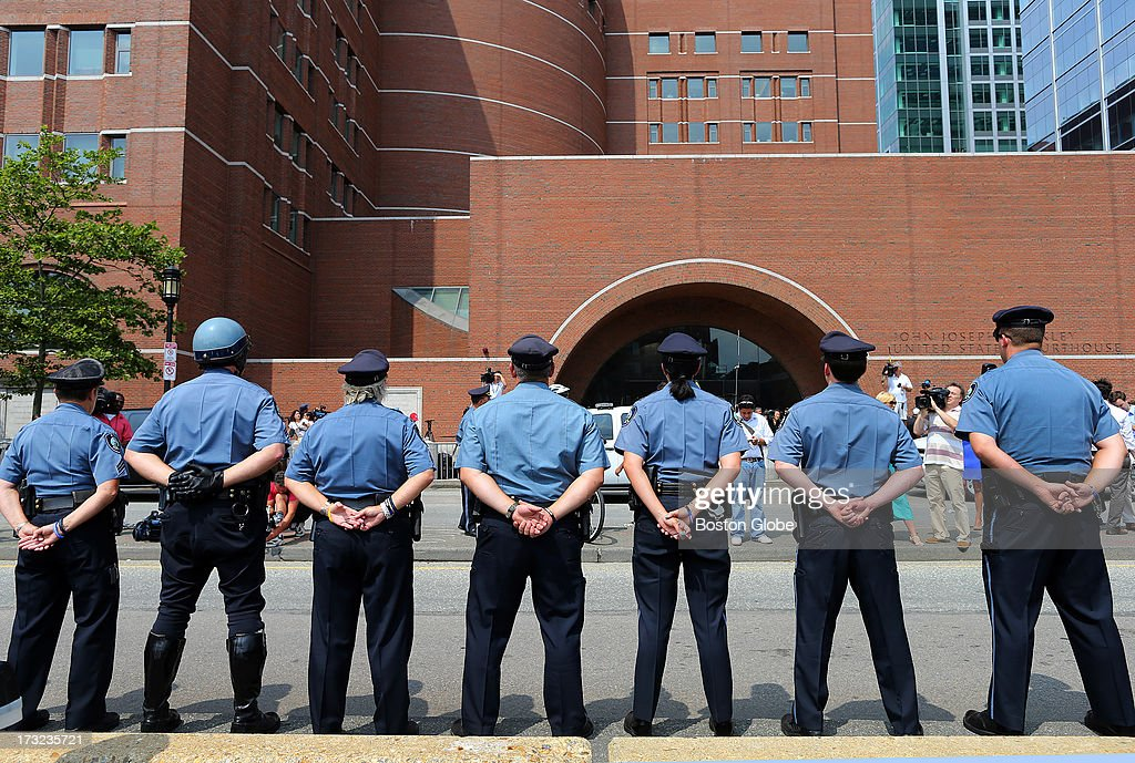 MIT police officers lined the street across from the courthouse. Sean Collier, one of their of officers, was killed before the shootout. Alleged Boston Marathon bomber Dzhokhar Tsarnaev appeared for an arraignment at the John Joseph Moakley United States Courthouse to face charges in the Boston Marathon bombings.