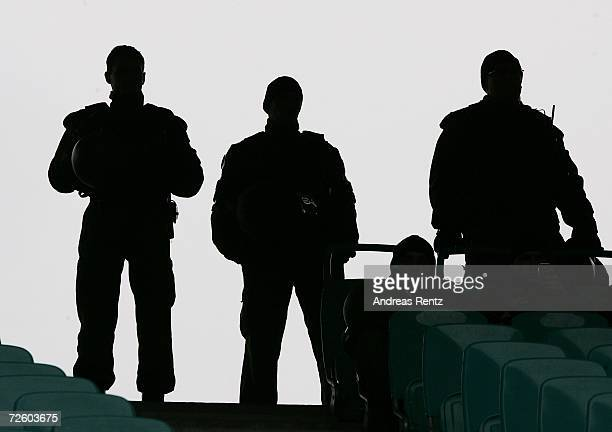 Police officers look on during the fourth league match between Sachsen Leipzig and FSV Zwickau at the Zentralstadion on November 19, 2006 in Leipzig,...
