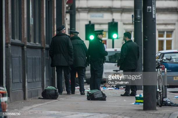 Police officers near the place after a man was shot and killed by armed police on February 2 2020 in London England The Metropolitan police have said...