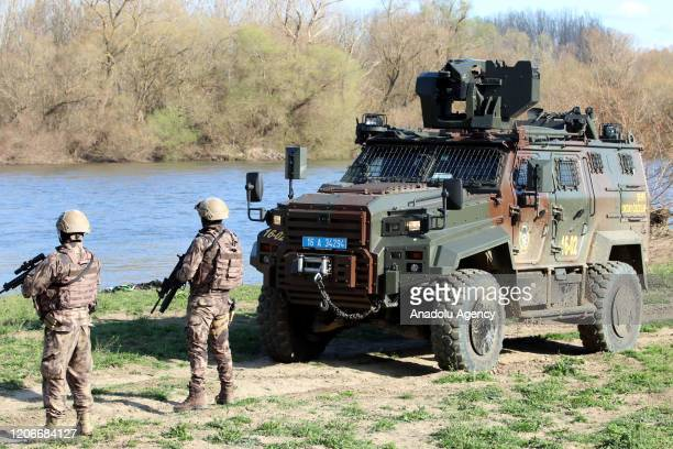 Police officers of Turkey's Special Operation continue to patrol by land and by river along the border to prevent push-backs of asylum-seekers to...