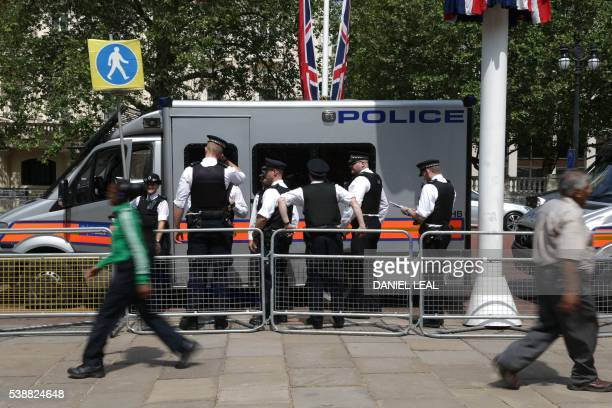 Police officers on the streets in central London on June 8 as Britain prepares to celebrate the 90th birthday of Queen Elizabeth II. Events are...