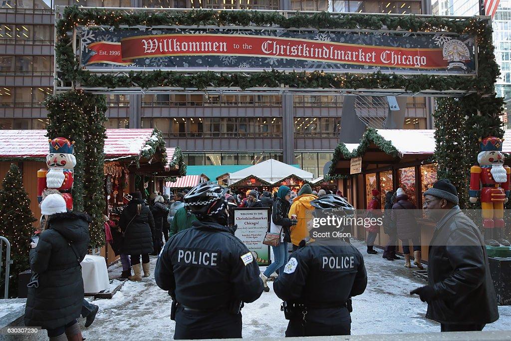Chicago German Christmas Market.Police Officers Patrol At Christkindlmarket Chicago A