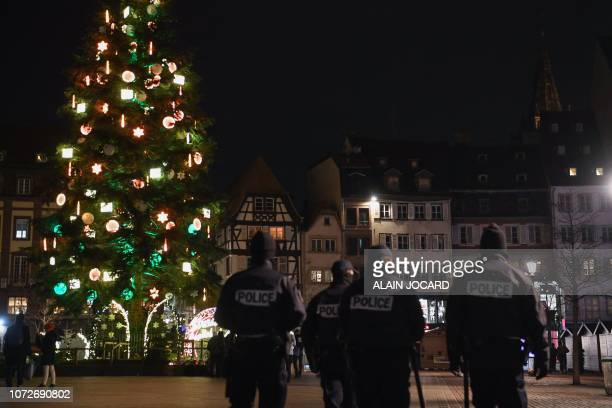Police officers patrol on December 13 in Strasbourg eastern France near the Christmas market after a shooting breakout on December 11 2018 Three...