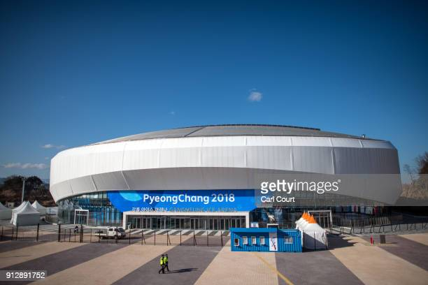 Police officers patrol outside the Gangneung Ice Arena in the Gangneung Coastal Cluster one of the venues for the Pyeongchang 2018 Winter Olympic...