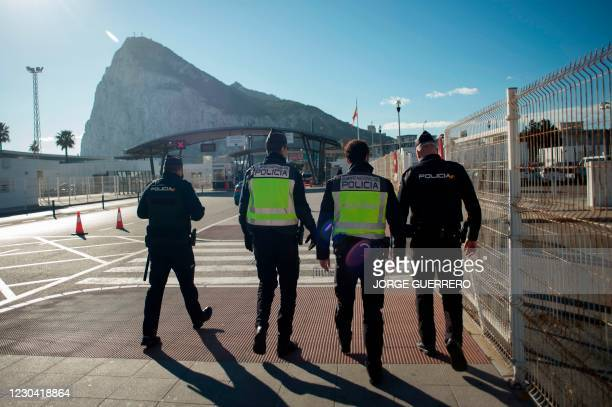 Police officers patrol the border between Spain and Gibraltar at La Linea de la Concepcion on January 4, 2021. - Gibraltarians have reacted with...